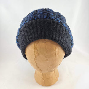 Woven knit hat, black & blues wool beanie