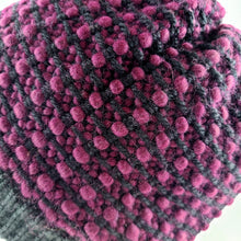Load image into Gallery viewer, Woven Knit Hat, Black Raspberry Wool Blend Beanie