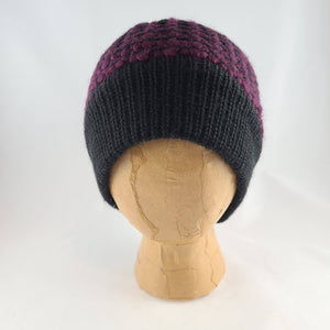 Woven Knit Hat, Black Raspberry Wool Blend Beanie