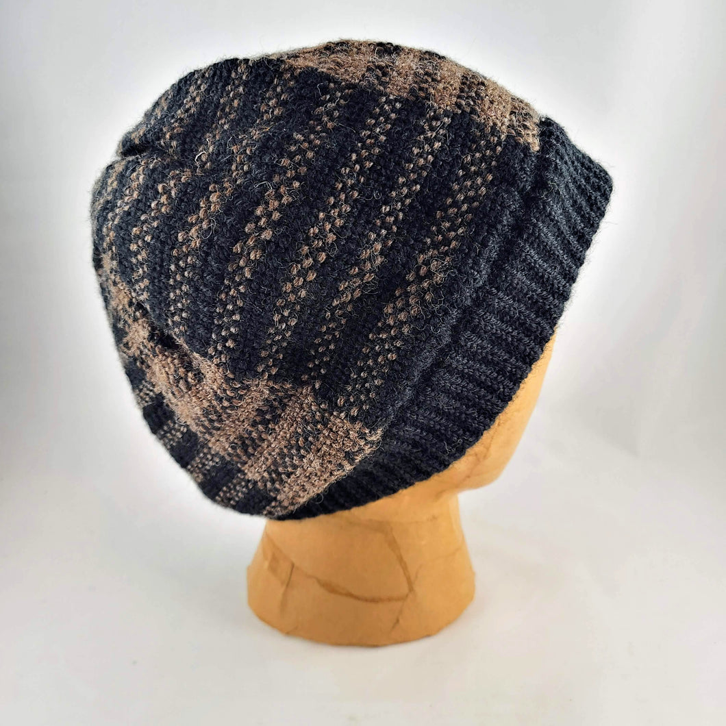 Woven Knit Hat, Black & Brown Alpaca Wool Blend Beanie