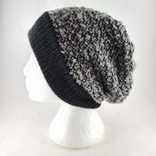 Load image into Gallery viewer, Woven knit hat, black & grey boucle wool blend beanie