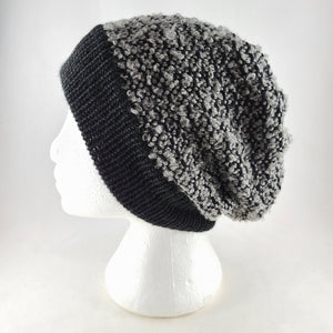 Woven knit hat, black & grey boucle wool blend beanie