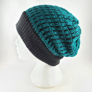 Woven knit hat, black & teal wool blend beanie