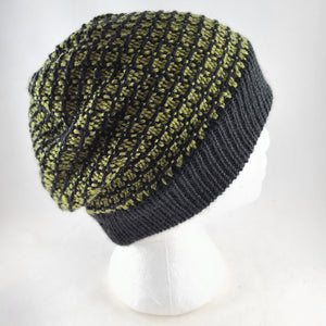 Woven knit hat, black & olive wool blend beanie