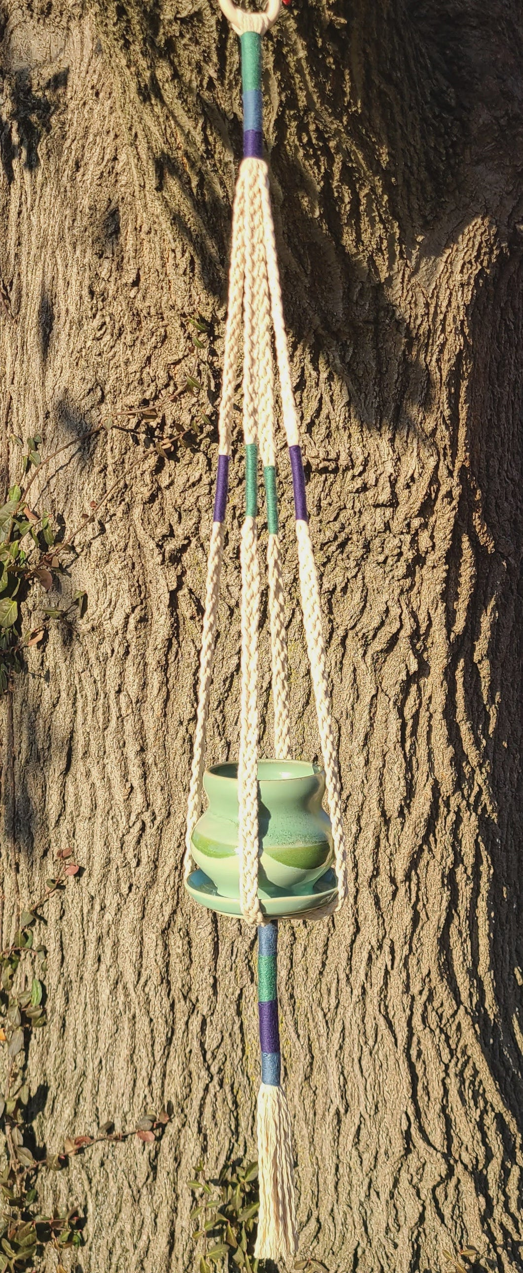 Plaited Plant Hanger and Grey Gardens Gallery Hand Thrown Ceramic Planter ,