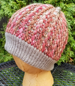 Woven Knit Hat, Moss and Berry Wool Blend Beanie