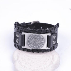 Vegvisir Viking Leather Cuff - electric-pagan