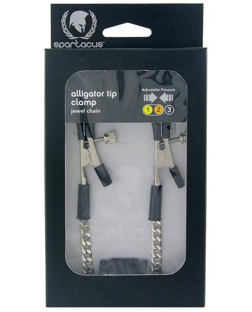 Spartacus Adjustable Alligator Nipple Clamps W-silver Chain - Spartacus - Climactic Adventures