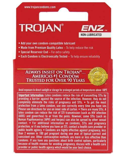 Trojan Enz Non-lubricated - Box Of 3 - Paradise Marketing - Climactic Adventures