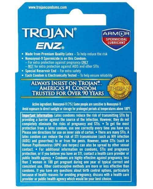 Trojan Enz Spermicidal Lubricated Condoms - Box Of 3 - Paradise Marketing - Climactic Adventures