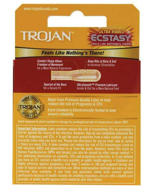 Trojan Ultra Ribbed Ecstasy Condoms - Box Of 3 - Paradise Marketing - Climactic Adventures