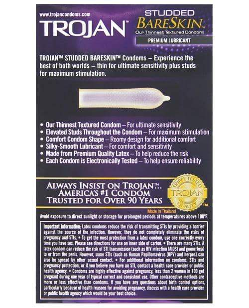 Trojan Studded Bareskin Condoms - Box Of 10 - Paradise Marketing - Climactic Adventures