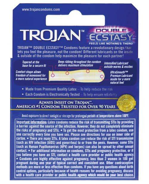 Trojan Double Ecstasy Condom - Box Of 3 - Paradise Marketing - Climactic Adventures