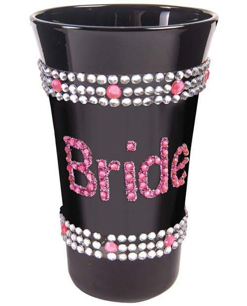 Bride Shot Glass W-pink Stones - Black - Forum Novelties - Climactic Adventures