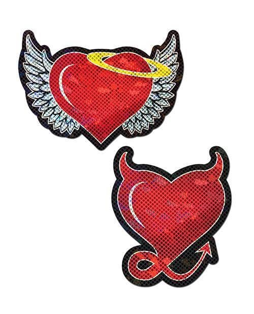 Pastease Angel & Devil Glitter Heart - Red O-s - Climactic Adventures