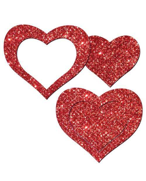 Pastease Glitter Peek A Boob Hearts - Red O-s - Pastease - Climactic Adventures