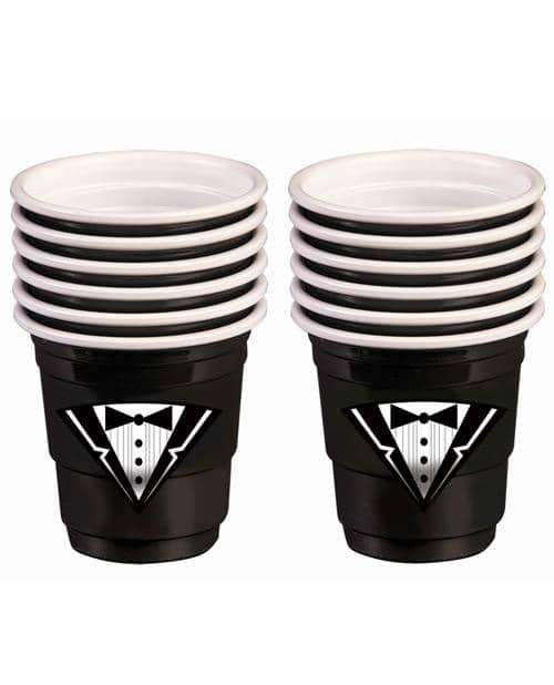 Bachelor Tuxedo Plastic Shot Glasses - Black Set Of 12 - Forum Novelties - Climactic Adventures