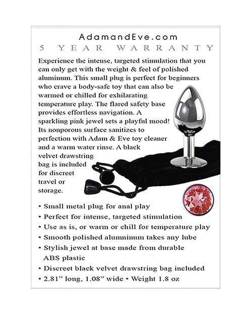 Adam & Eve Pink Gem Anal Plug Small - Silver-pink - Evolved Novelties INC - Climactic Adventures