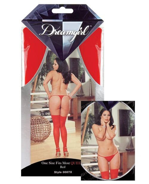 Sheer Thigh Highs W-back Seam Red Qn - Dreamgirl International - Climactic Adventures