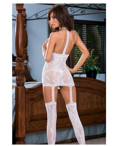 Floral Stretch Lace Halter Dress W-attached Garters & Thigh High Stockings White O-s