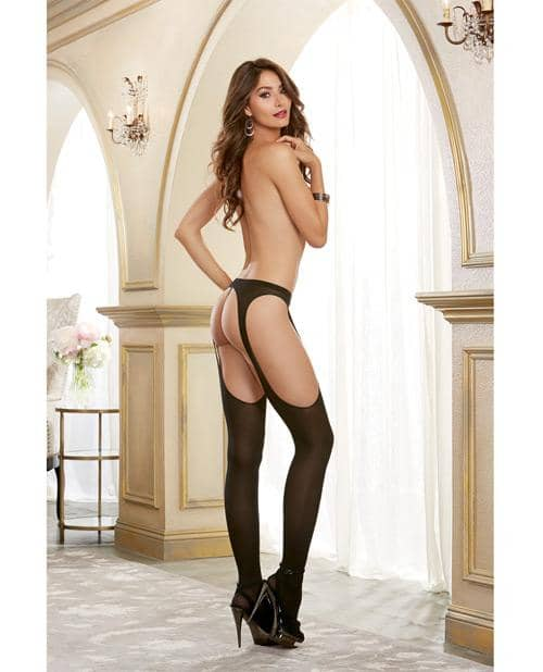 Semi Opaque Suspender Pantyhose Black O-s - Dreamgirl International - Climactic Adventures