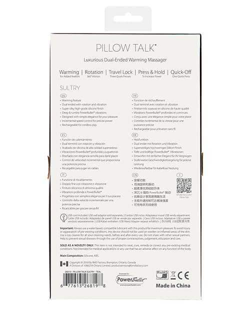 Pillow Talk Sultry Rotating Wand - Teal - B.M.S. Enterprises - Climactic Adventures
