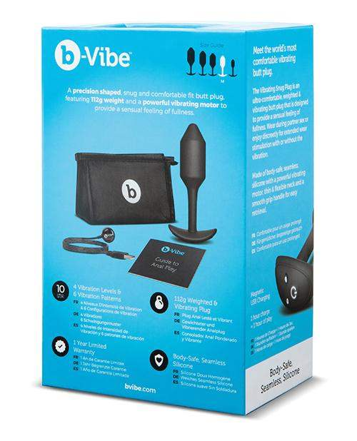 B-vibe Vibrating Weighted Snug Plug M - 112 G Black - Cotr INC - Climactic Adventures