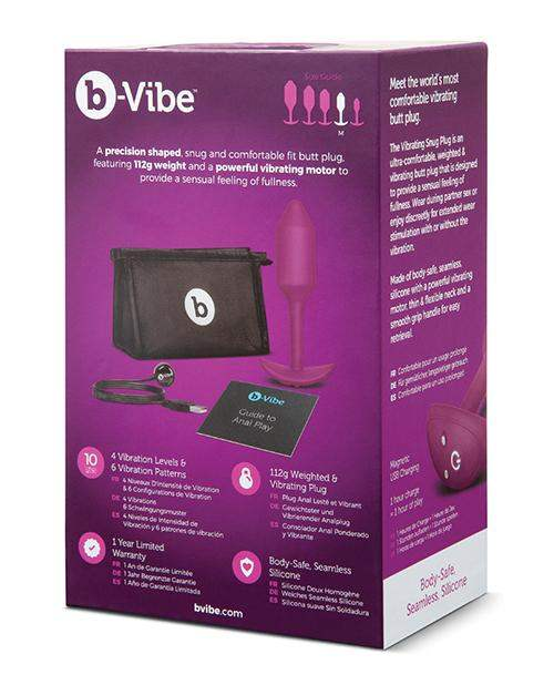 B-vibe Vibrating Weighted Snug Plug M - 112 G Rose - Cotr INC - Climactic Adventures