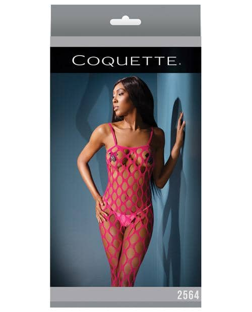 Sleek Seamless Stretch Open Net Bodystocking Neon Pink O-s - Coquette International - Climactic Adventures