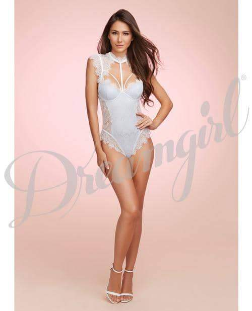 Stretch Satin Teddy W-underwire Cups & Lace Overlay, Tie Back Collar & Snap Crotch Wht-pwd Blu Md - Dreamgirl International - Climactic Adventures