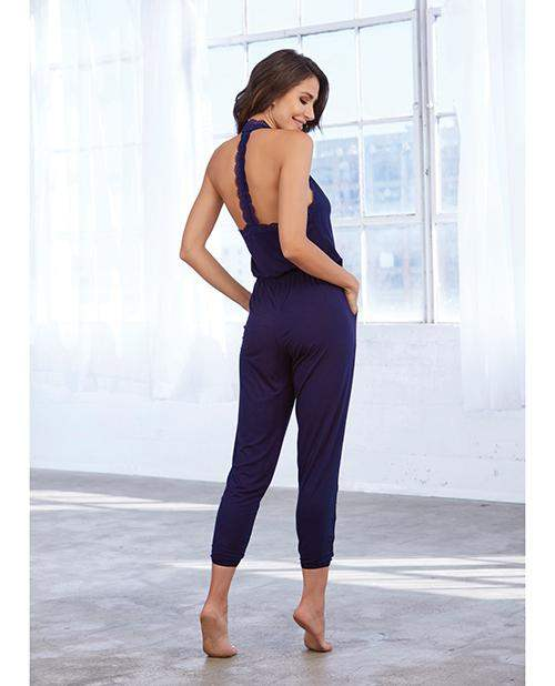Soft Knit Jersey Sleepwear Jumpsuit Eggplant Lg - Dreamgirl International - Climactic Adventures