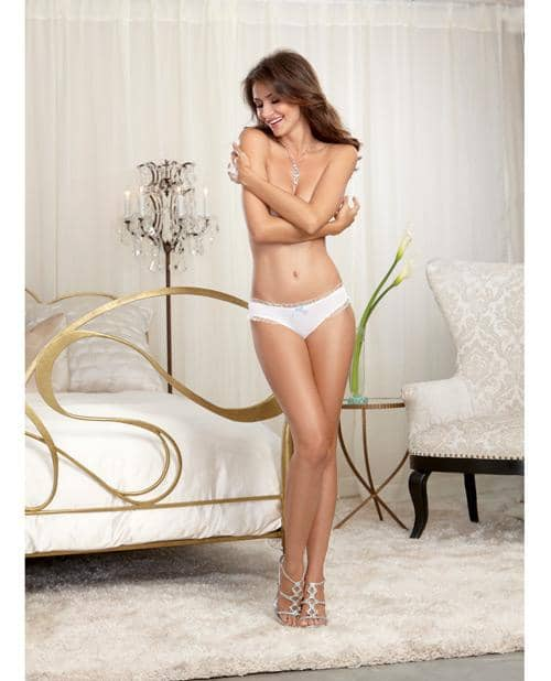 Microfiber Cheeky Panty W-rhinestone Bride On Back White Xl - Dreamgirl International - Climactic Adventures