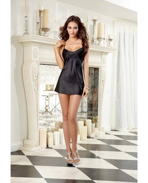 Charmeuse Short Length Kimono W-matching Chemise Black Md - Dreamgirl International - Climactic Adventures