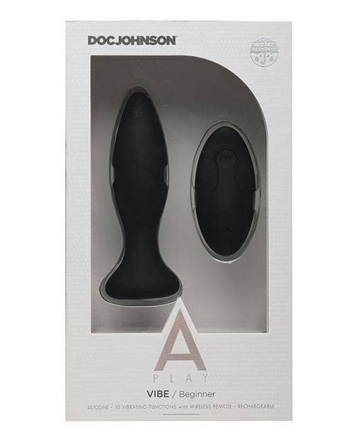 A Play Rechargeable Silicone Beginner Anal Plug W-remote - Black - Doc Johnson - Climactic Adventures