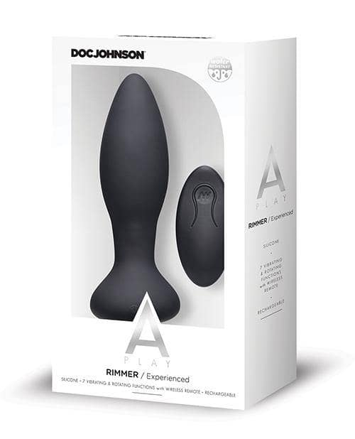 A Play Rimmer Experienced Rechargeable Silicone Anal Plug W-remote - Black - Doc Johnson - Climactic Adventures