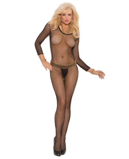 Fishnet Long Sleeve Bodystockings W-open Crotch Black O-s - Elegant Momentsinc - Climactic Adventures