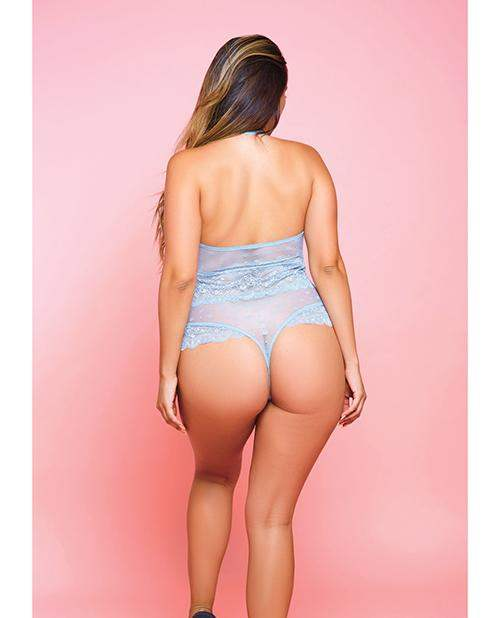 Simone Stretch Lace Mesh Teddy W-cheeky Back Light Blue 1x - Icollection Lingerie - Climactic Adventures