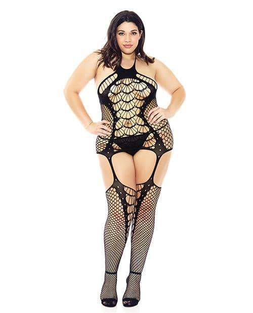 Halter Spider Web Fishnet Bodystocking Black Qn - Icollection Lingerie - Climactic Adventures