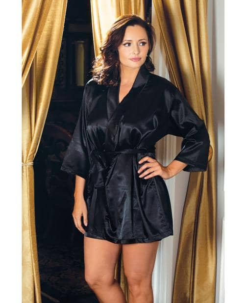 Satin 3-4 Sleeve Robe W-matching Sash Black 3x-4x - Icollection Lingerie - Climactic Adventures