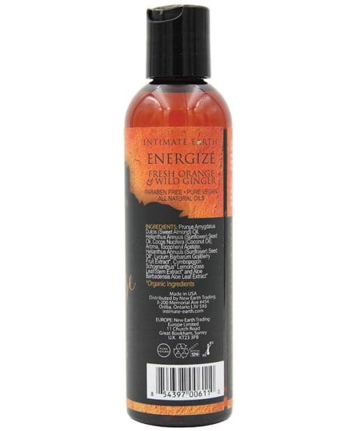 Intimate Earth Energizing Massage Oil - 120 Ml Orange & Ginger - New Earth Trading LLC - Climactic Adventures