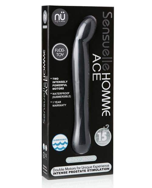 Sensuelle Homme Ace Rechargeable Prostate Massager - Black - Novel Creations Usa INC - Climactic Adventures
