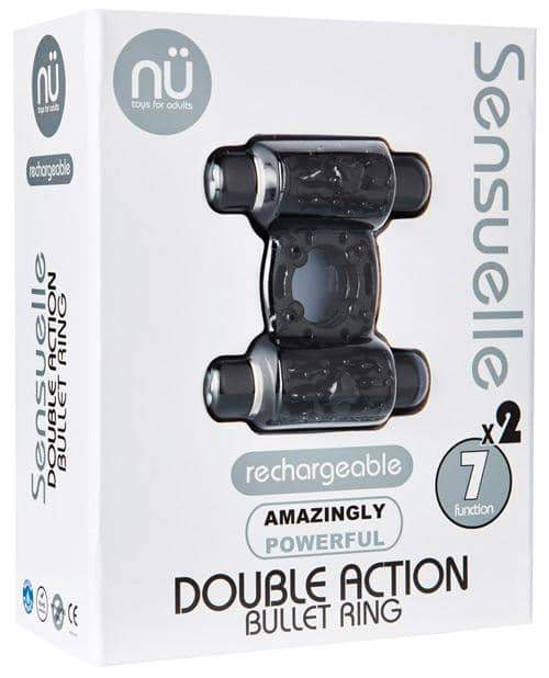 Sensuelle Double Action Cockring - 2x7 Function Black - Novel Creations Usa INC - Climactic Adventures