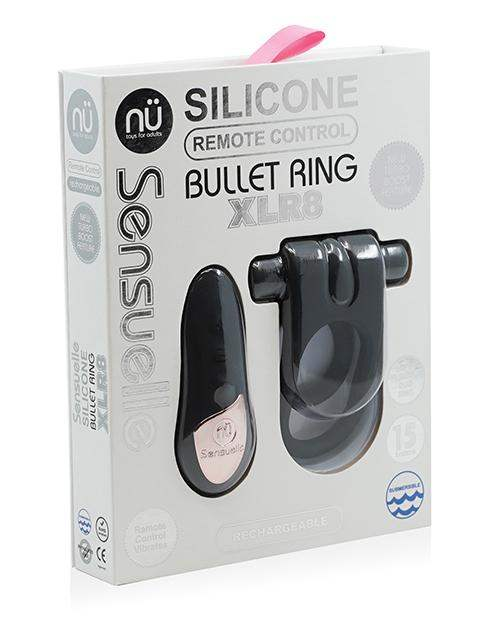 Sensuelle Silicone Remote Control Xlr8 Turbo Boost Bullet Ring - Black - Novel Creations Usa INC - Climactic Adventures