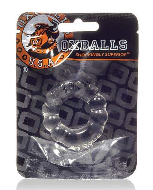 Oxballs Atomic Jock 6-pack Shaped Cockring - Clear - Blue Ox Designs LLCDba Oxballs - Climactic Adventures