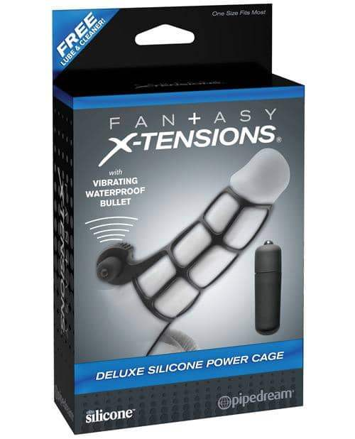 Fantasy X-tensions Deluxe Silicone Power Cage - Black - Pipedream Products - Climactic Adventures