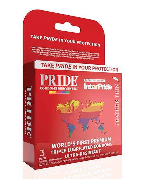 Pride Feather Thin Condoms - Pack Of 3 - Paradise Marketing - Climactic Adventures