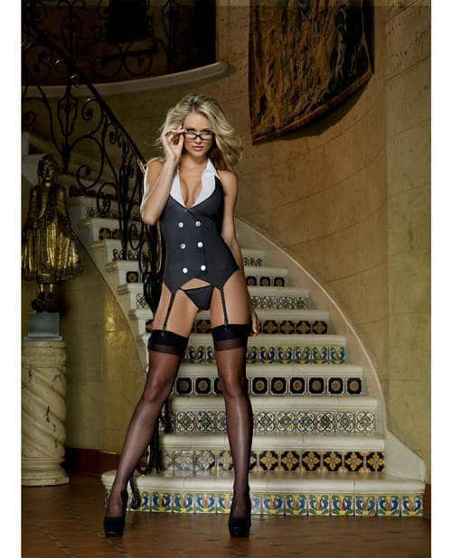 3 Pc Working Late Pinstripe Knit Vest Garter, Thong & Plastic Glasses Black O-s - Dreamgirl International - Climactic Adventures