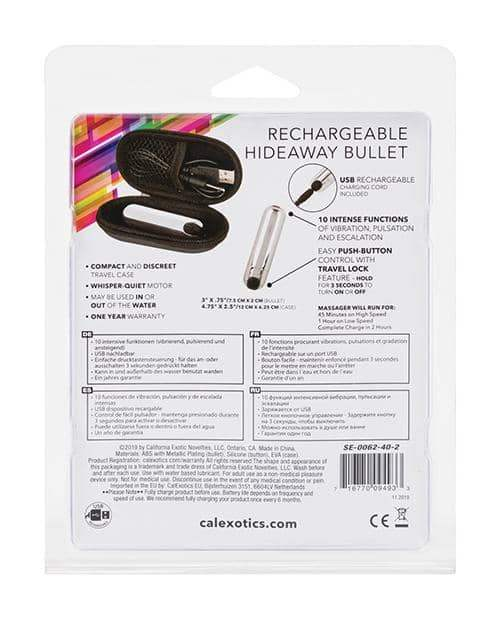Rechargeable Hideaway Bullet - Silver - California Exotic Novelties - Climactic Adventures