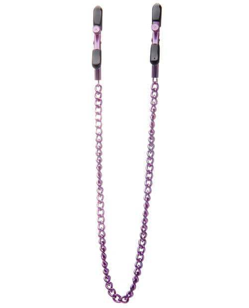 Shots Ouch Adjustable Nipple Clamps W-chain - Purple - Shots America LLC - Climactic Adventures