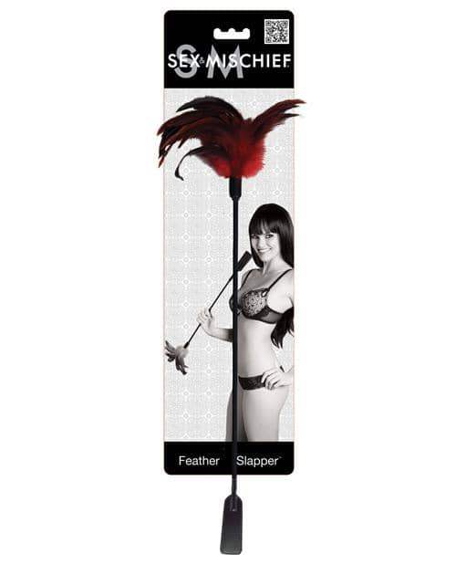Sex & Mischief Feather Slapper - Red-black Feathers - Sportsheets International - Climactic Adventures